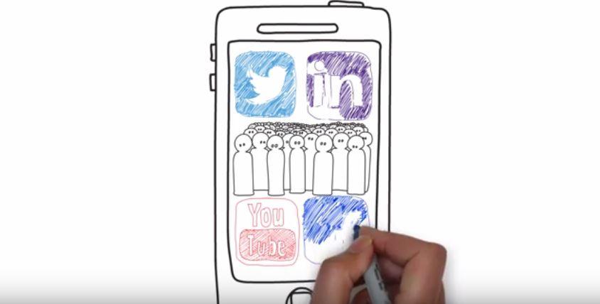 Animation sur tableau blanc : histoire d'utilisation des médias sociaux d'une étudiante infirmière