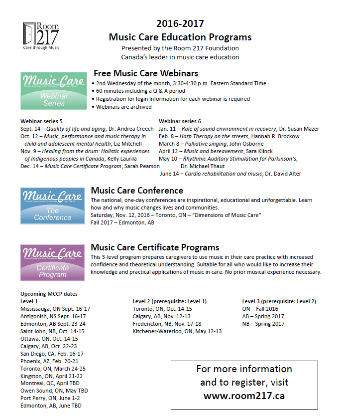 Music Care Education Program - Canadian Association of Schools of ...